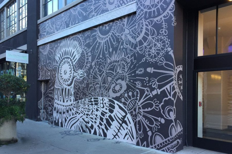 Patterned mural with bird and flowers
