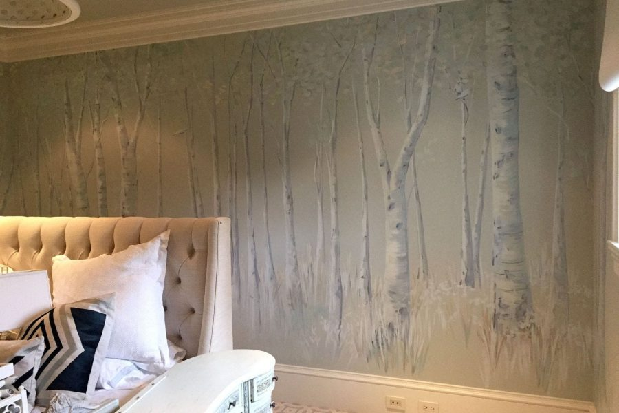 Atherton mural for a birch tree bedroom