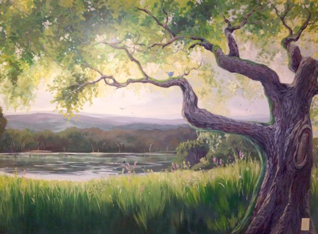 Tree mural with lake for kids wall art