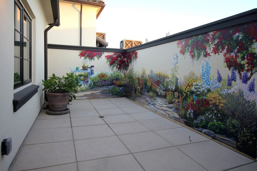 Garden Mural with Planters and Cart