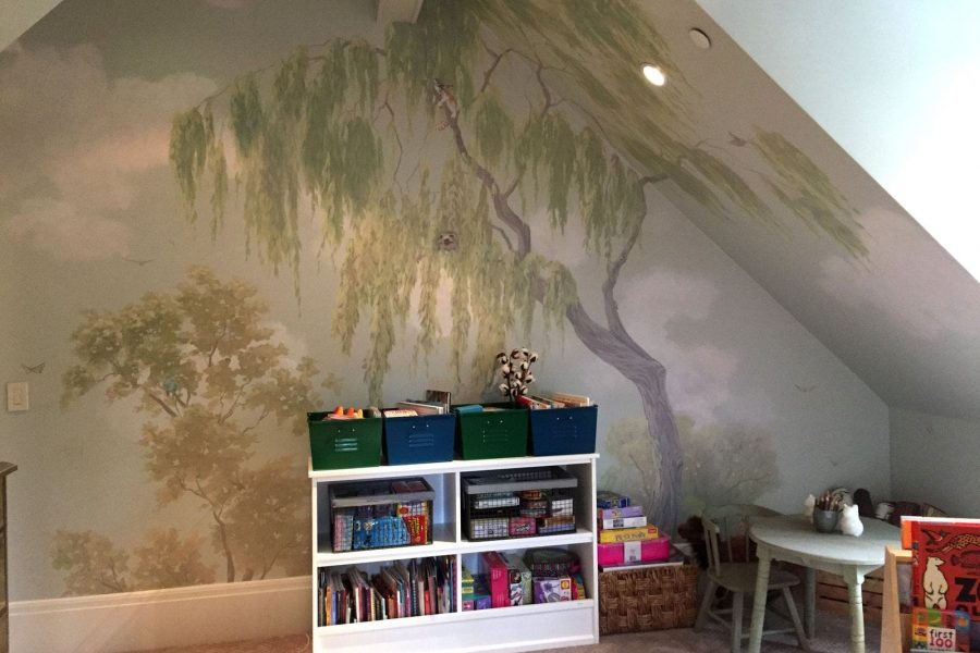 Custom interior design mural painted for Atherton Home