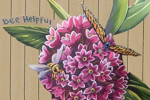 Milkweed Mural with bee and butterfly