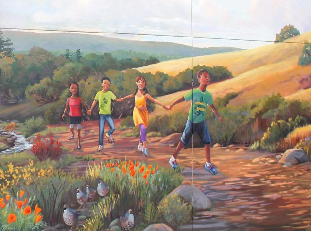 Springer Elementary School Bay Area Mural with Kids Painted on the Landscape