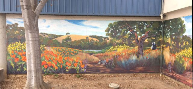 Landscape Mural at Stocklmeir Elementary in the Bay Area
