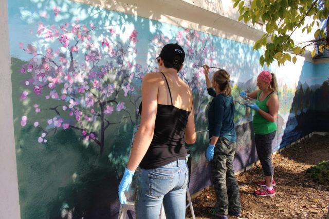 Bay Area Muralists Painting Cherry Blossom Trees