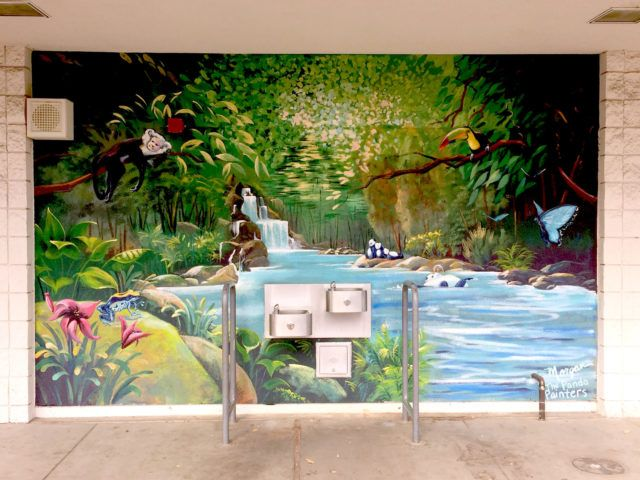 Kids Rainforest Mural with Monkey and Toucan