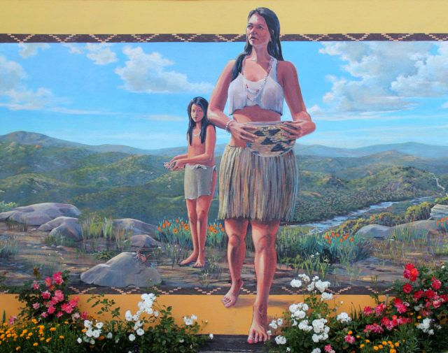Native American Woman and Child Mural