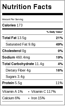 Curry Cauliflower Soup Nutrition Label