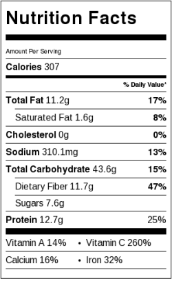 Tuscan Bean Dish Nutrition Label