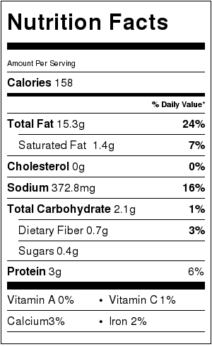 Vegan Ranch Dressing Nutrition Label
