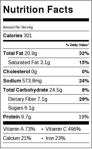 Asian Kale Salad Nutrition Label