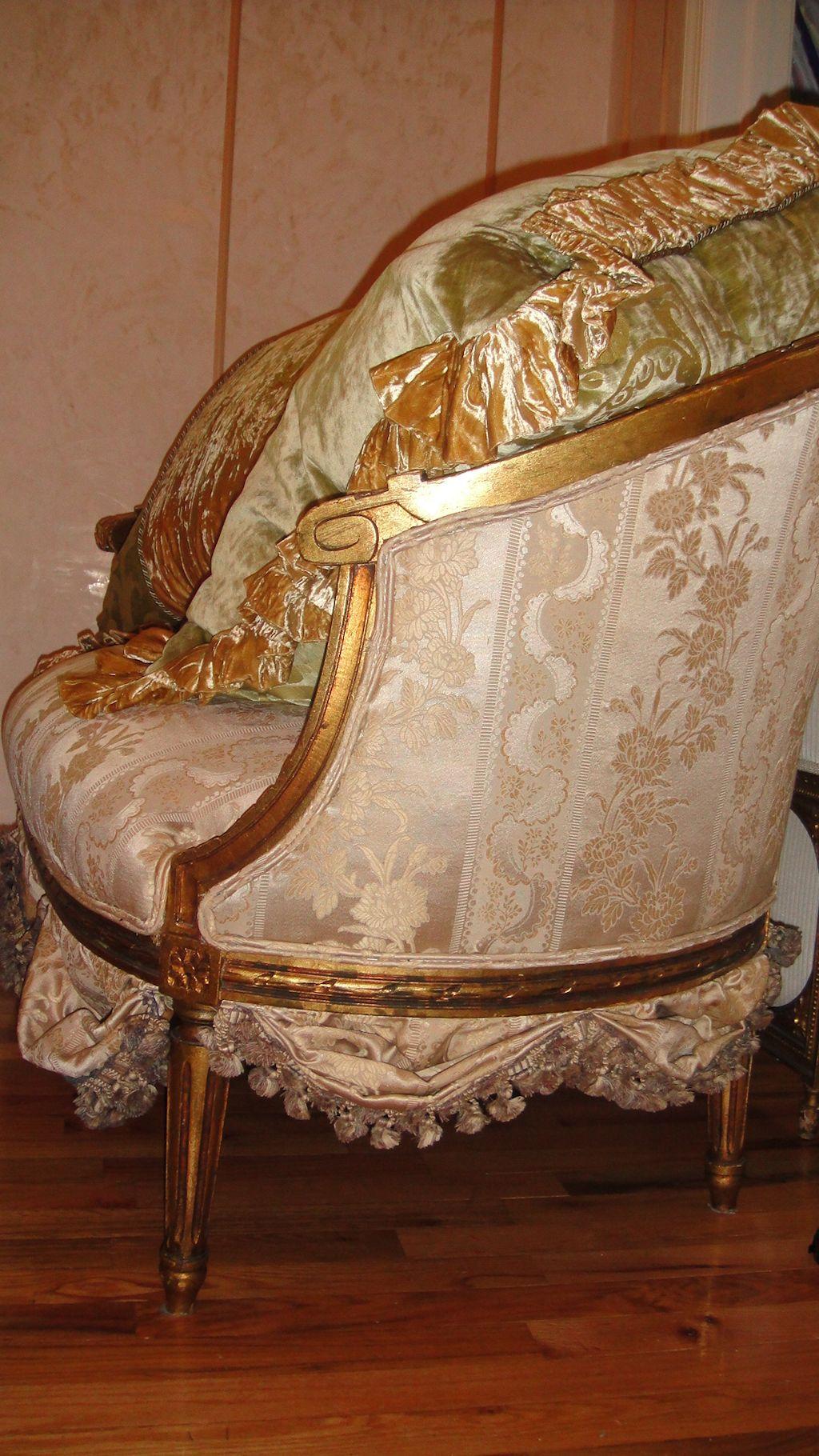 antique french sofa ebay henredon fireside short settee loveseat circa 1800 39s scallops