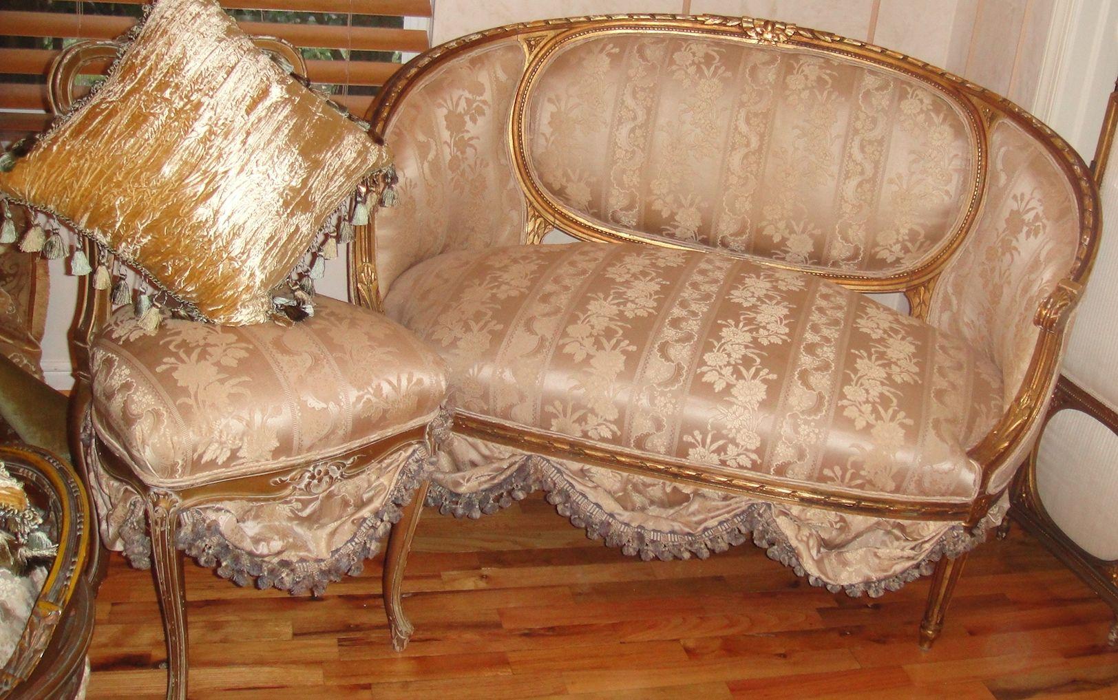 antique french sofa ebay furnicity fabric 3 2 grey set settee loveseat circa 1800 39s scallops