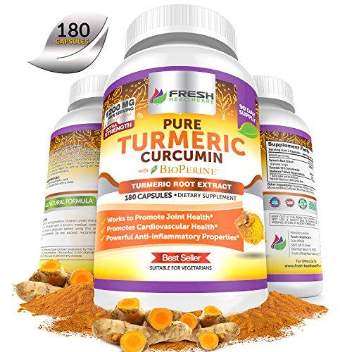 Fresh Healthcare Non-GMO, Gluten Free Pure Turmeric Curcumin Powder with BioPerine and Black Pepper – 180 Vegan Capsules