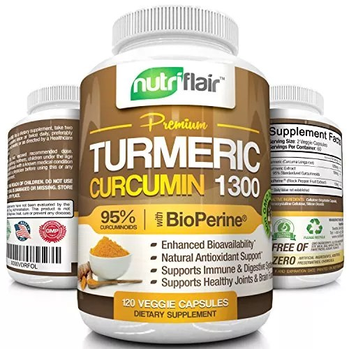 NutriFlair Turmeric Curcumin 1300 with 1300mg 95% Standardized Curcuminoids and BioPerine – 120 Capsules