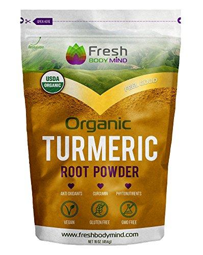 Fresh Body Mind Organic Turmeric Root Powder 16oz w/ Anti-Aging Antioxidants & Curcumin – Perfect for Smoothies, Cooking & Golden Milk – Vegan Anti Inflammatory Superfood- Gluten & GMO Free