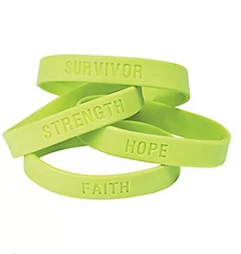 50 Lime Green Awareness Sayings Bracelets, Lymphoma, Lyme Disease, Muscular Dystrophy, Mental Health