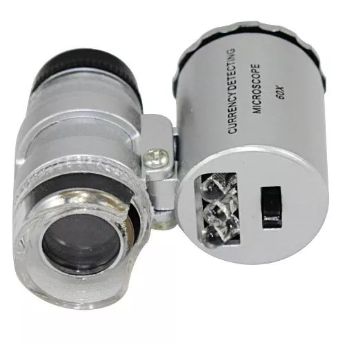 Save4Pay® New Silver 60X Loupe Portable Mini Pocket LED UV Light Microscope Magnifier