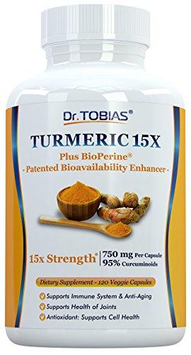Dr. Tobias Turmeric Curcumin – 15x Strength: 750 mg per Capsule of 95% Curcuminoids Plus Bioperine – 120 Capsules