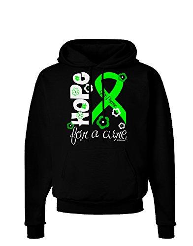 TooLoud Hope for a Cure – Lime Green Ribbon Lyme Disease – Flowers Dark Hoodie Sweatshirt – Black – Large