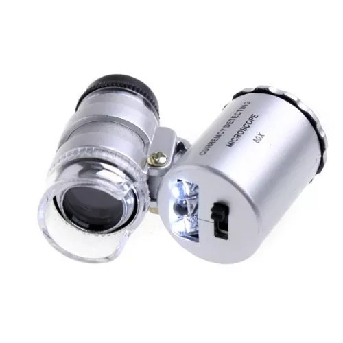 Docooler 60X Pocket Magnifier Microscope Loupe LED Currency UV