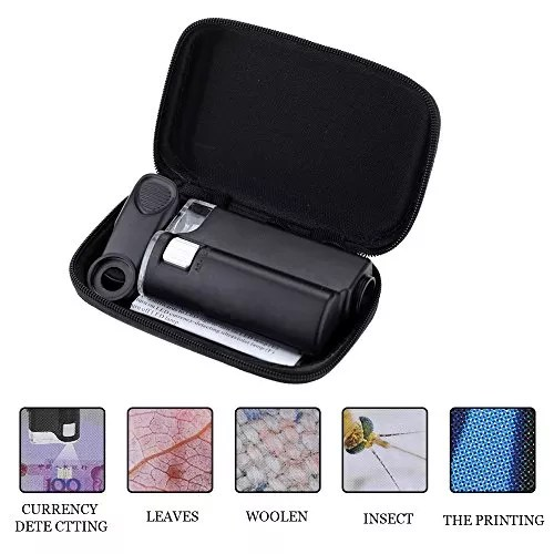 Bleiou Portable Loupe Magnifier for Jewelry Gem 60-100X Multifunctional Adjustable Microscope Magnifying Tool with LED and UV Light