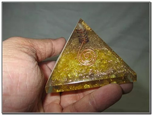 Exquisite A++ Yellow Chakra Orgone Pyramid Crystal Gemstones Copper Metal