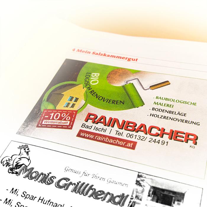 Einschaltung für die Malerei Rainbacher