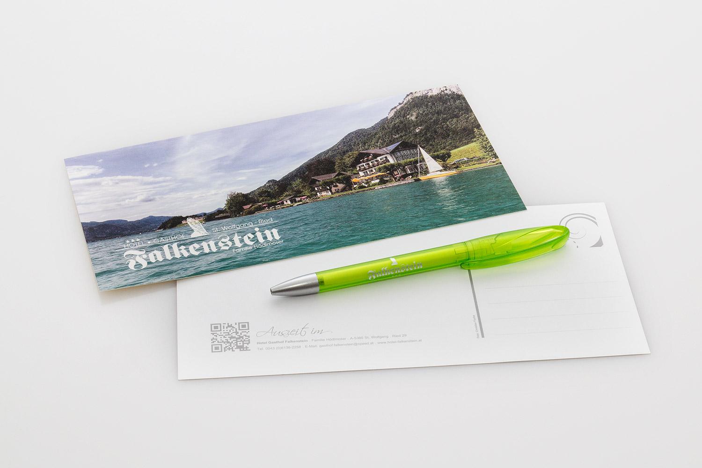 Werbeartikel Postkarten & Kugelschreiber - gestaltet von MORI Werbung & Fotografie