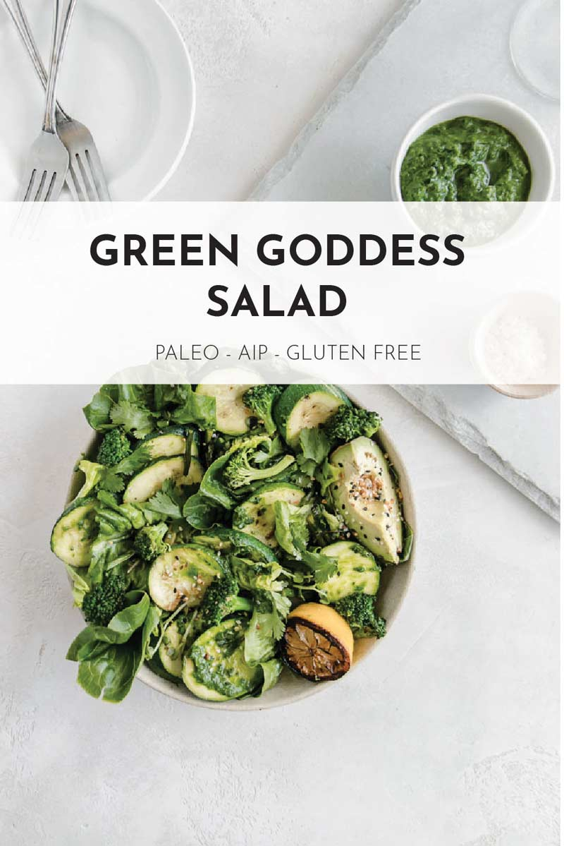 This zesty Green Goddess Pesto Salad is loaded with vibrant green veggies and coated in a dairy free pesto dressing! The perfect Whole 30 approved Paleo side dish for a cookout.