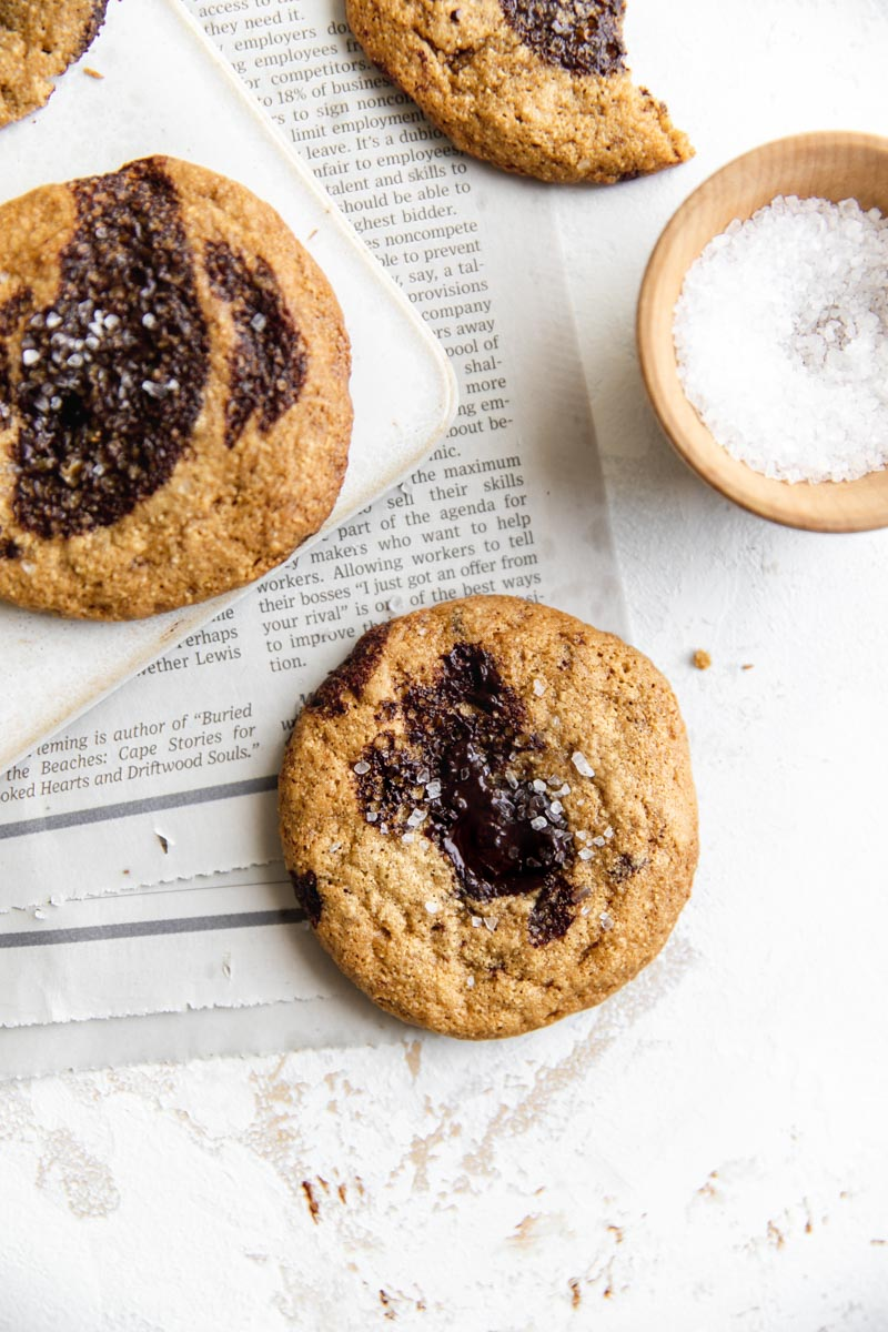 Chewy Paleo Chocolate Chip Cookies are made with cassava flour and coconut oil for perfectly crispy nut-free chocolate chip cookies. Refined sugar free and made with minimal ingredients, these paleo cookies are my favorite!