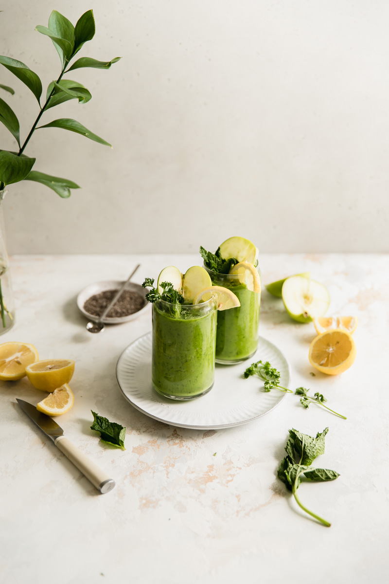 This sugar free Super Greens Collagen Smoothie is made with non-dairy milk, healthy spinach and kale, and protein-packed collagen. A perfect paleo protein smoothie!