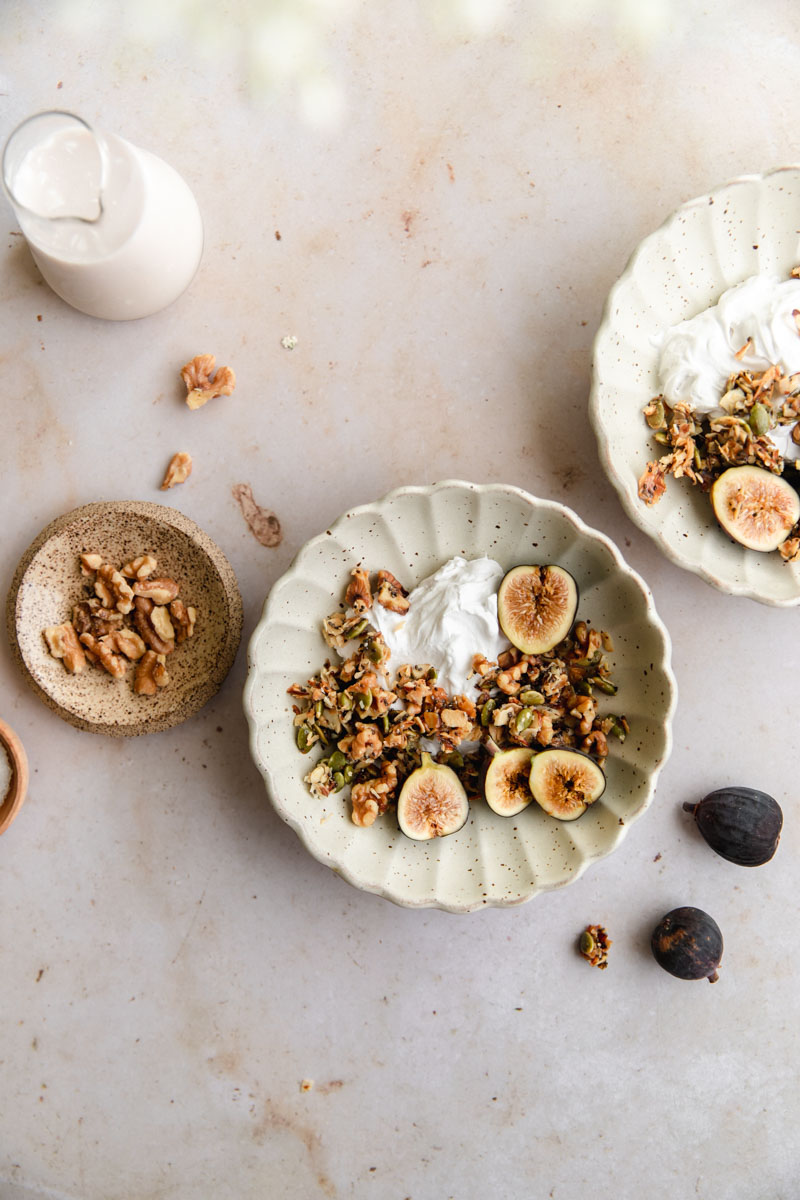This paleo-friendly Salted Honey Walnut Grain-Free Granola is the perfect grain and gluten-free snack naturally sweetened with honey and topped with flakey sea salt!