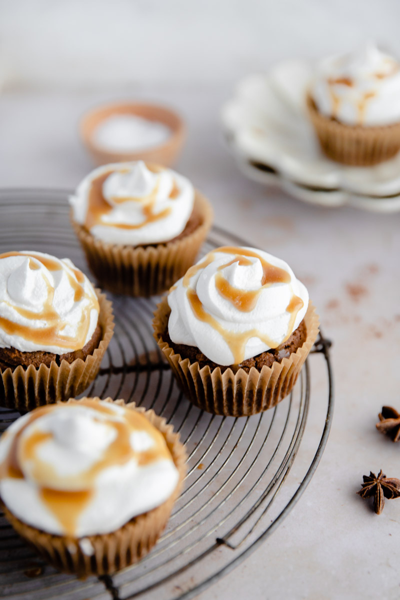 Moist and Sweet Paleo Chai Spiced Cupcakes made with cassava flour and topped with a vegan buttercream for the perfect Grain Free and Nut Free cupcake treat!