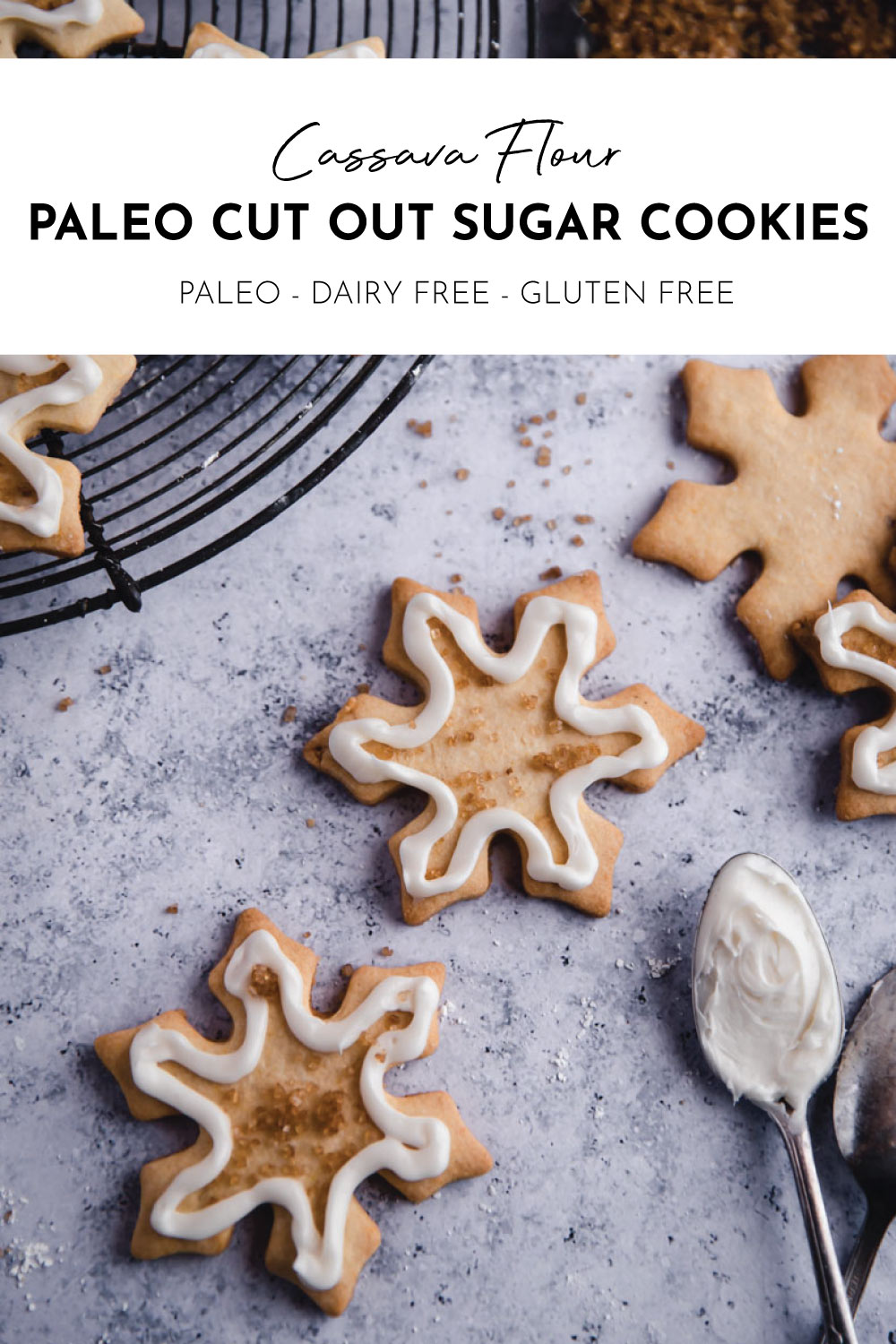 The Best Easy Best Paleo Cut-Out Sugar Cookies made with cassava flour and coconut oil for easy gluten-free, dairy-free, and nut-free holiday cookies!