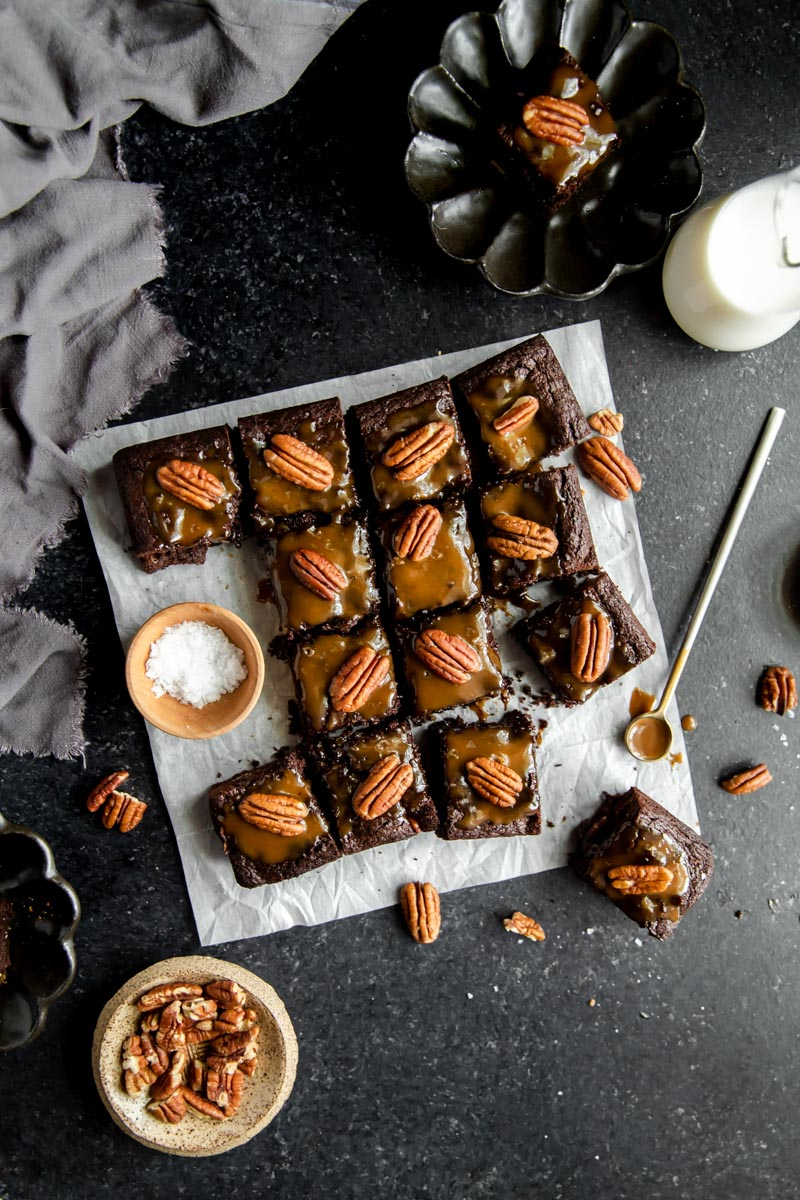 Fudgey cassava flour paleo Turtle Brownies with chocolatey brownie, vegan caramel sauce, and crunchy pecans make the perfect gluten-free treat!