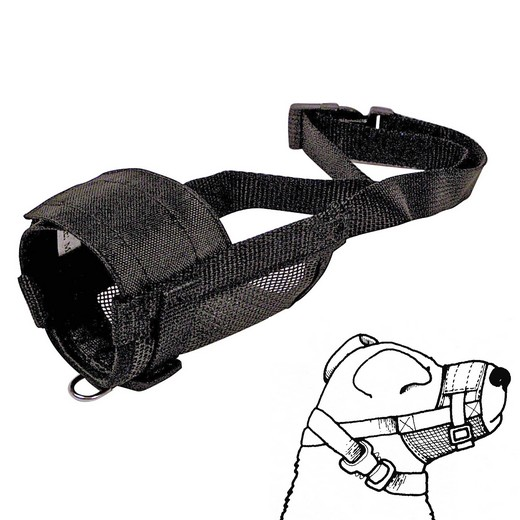 Muselière pour chien en nylon aérée, tour de museau réglable