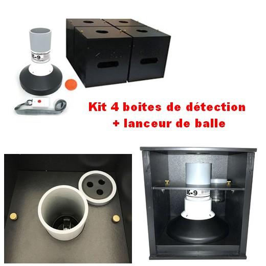 Kit 4 boites de détection HDPE + lanceur de balle