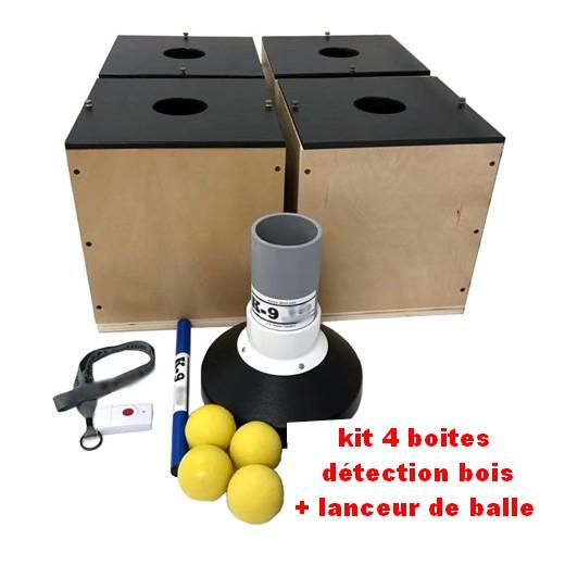 Kit 4 boites de détection BOIS + lanceur de balle