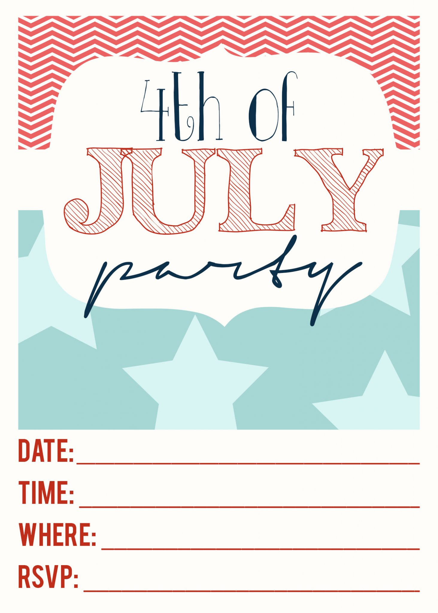4th Of July Printable Invitations