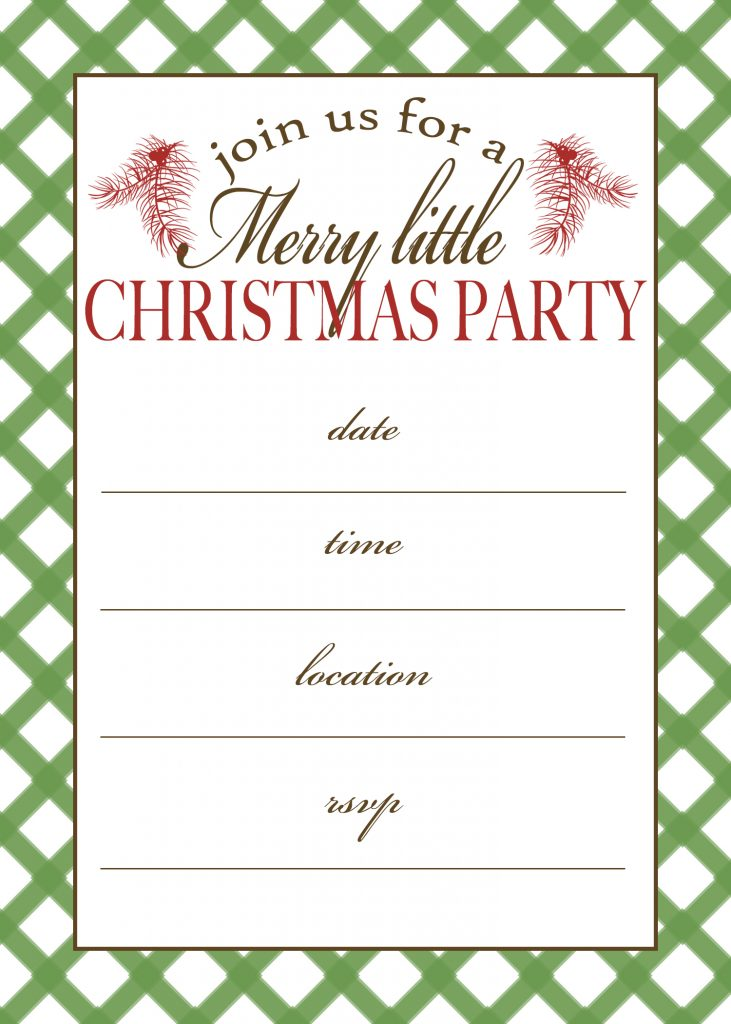 free christmas party invitations to print