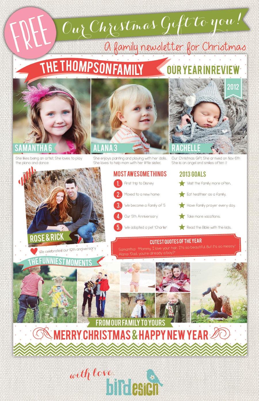 free family newsletter template