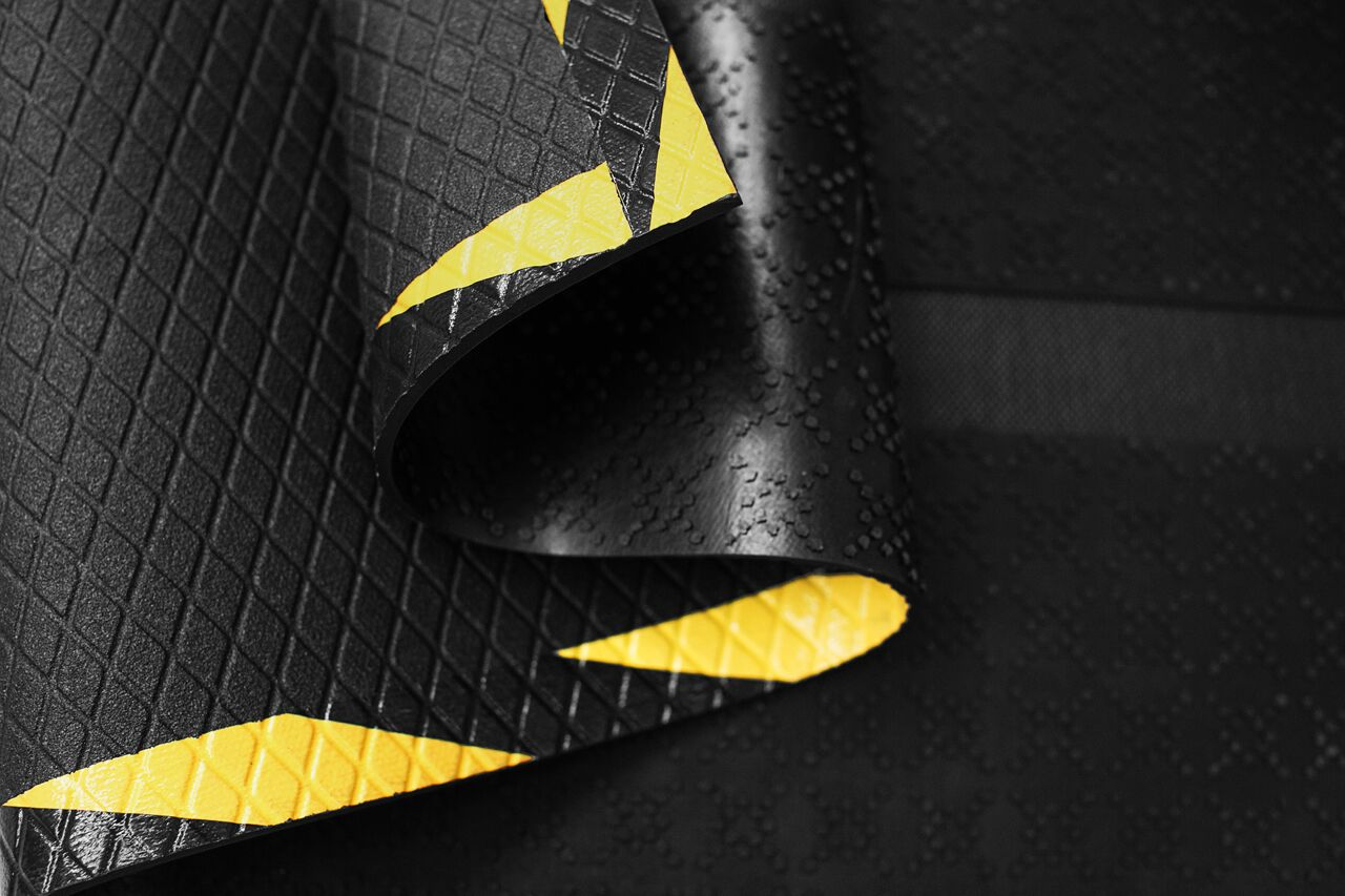Morland Cable Protect Industrial Rubber Mat showing cable channel, gripper backing and embossed top surface