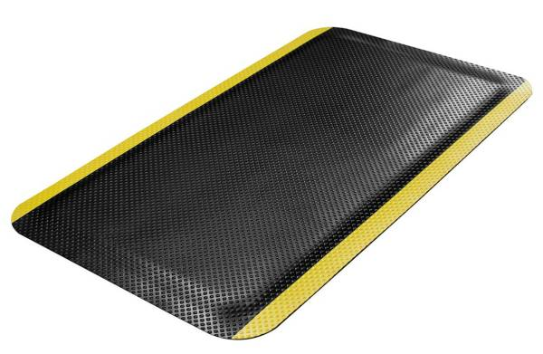 A single Morland Comfort safety anti-fatigue mat showing yellow stripe and cushioned centre on a white background