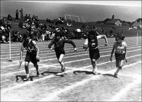 A relay race at Woodkirk High School