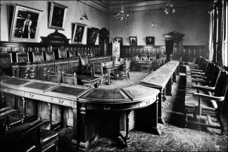 The council chamber in Morley Town Hall in its original format
