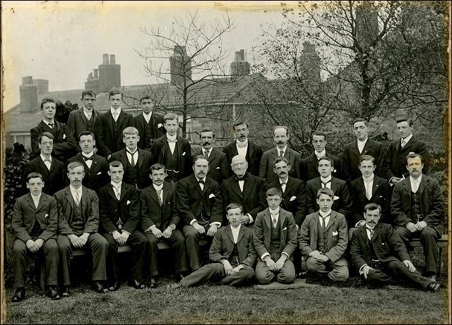 A group of young men at Drighlington Zion Church