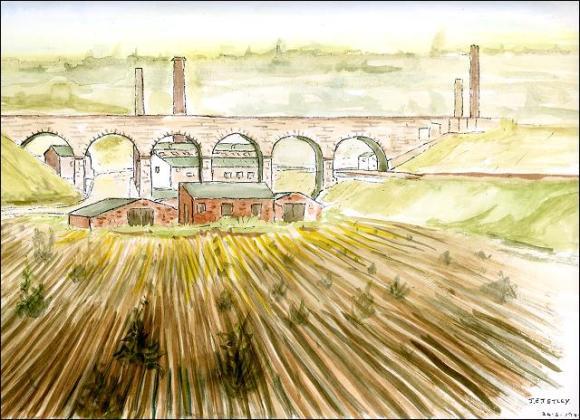 Drawing for Churwell Viaduct by Joe Tetley