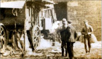 Threshing corn at Low Laithes Farm in Churwell