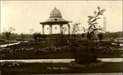 Post card showing bandstand in Dartmouth Park Morley